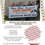 02/28 — 03/03 2019 Wade T. Witmer Memorial Hog Hunt