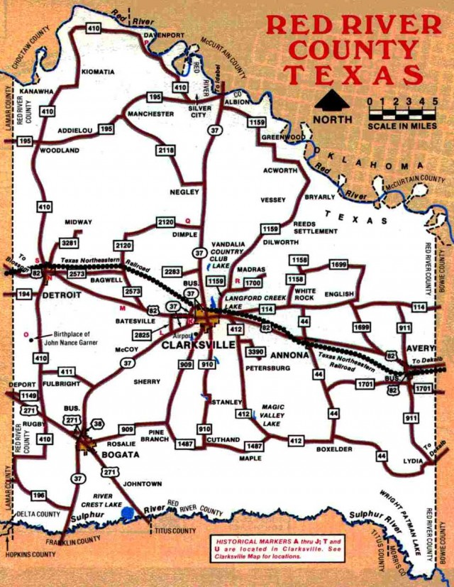 Red River County Texas map