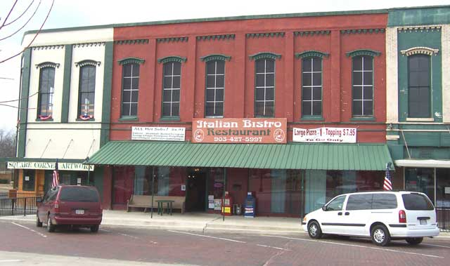 The Italian Bistro, on the square in Clarksville, Texas